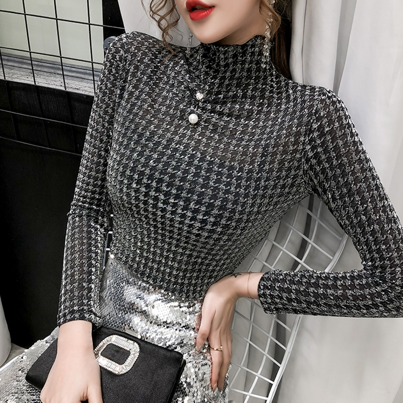 2020 Spring Summer Popula Shiny Korean Clothes Sexy Houndstooth Beading T-shirt Women Tops Ropa Mujer Bottoming Shirt Tee T02314