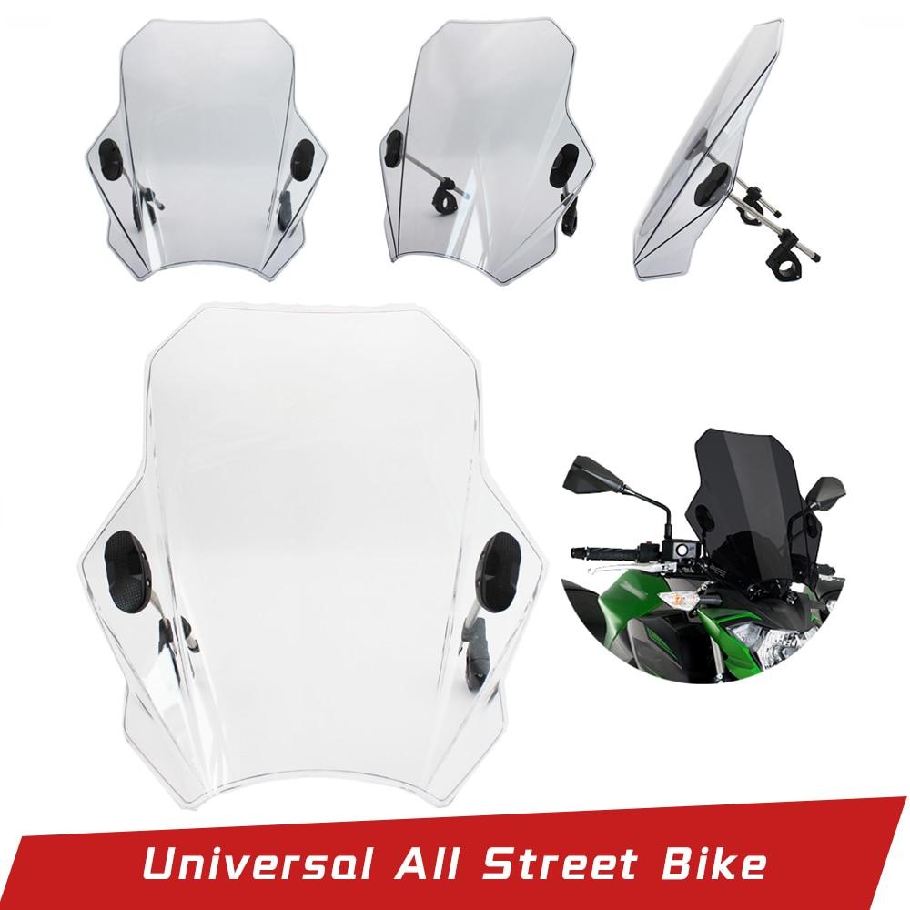 Universal Motorcycle Windshield Windscreen Wind Deflector With Adjustable Bracket  Fit For BMW Honda Yamaha Kawasaki Suzuki