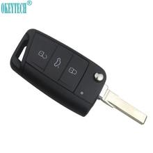 OkeyTech Car Styling 3 Bottoni Modificato Pieghevole di Vibrazione Auto Chiave A Distanza Della Copertura Della Cassa Fob Per VW Golf 7 MK7 Skoda octavia A7 Sedile