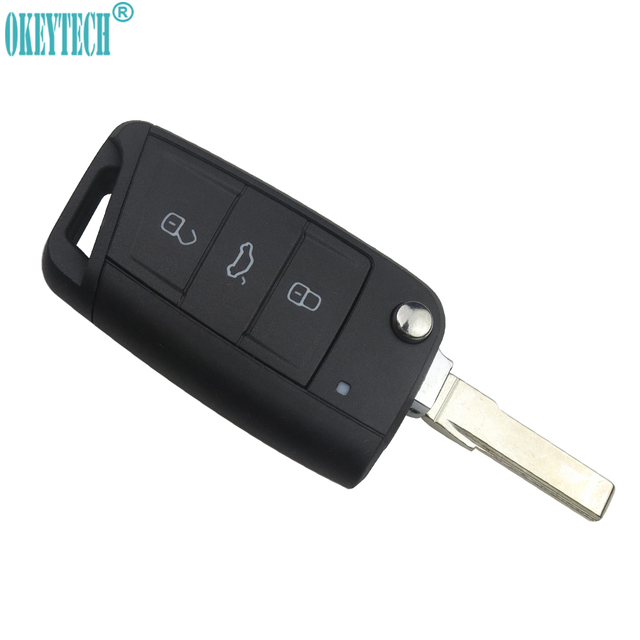 OkeyTech Car Styling 3 Buttons Modified Folding Flip Remote Car Key Cover Case Fob For VW Golf 7 MK7 Skoda Octavia A7 Seat