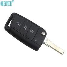 OkeyTech télécommande pliable à 3 boutons, pour voiture, design, etui clés Fob, pour VW Golf 7 MK7 Skoda Octavia A7