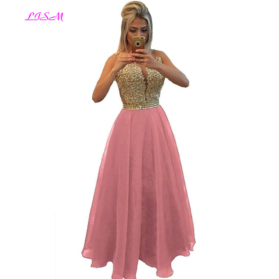 Chiffon Beaded Lace Applique Long Prom Dress Sheer Back Sleeveless Formal Gown O Neck Floor Length