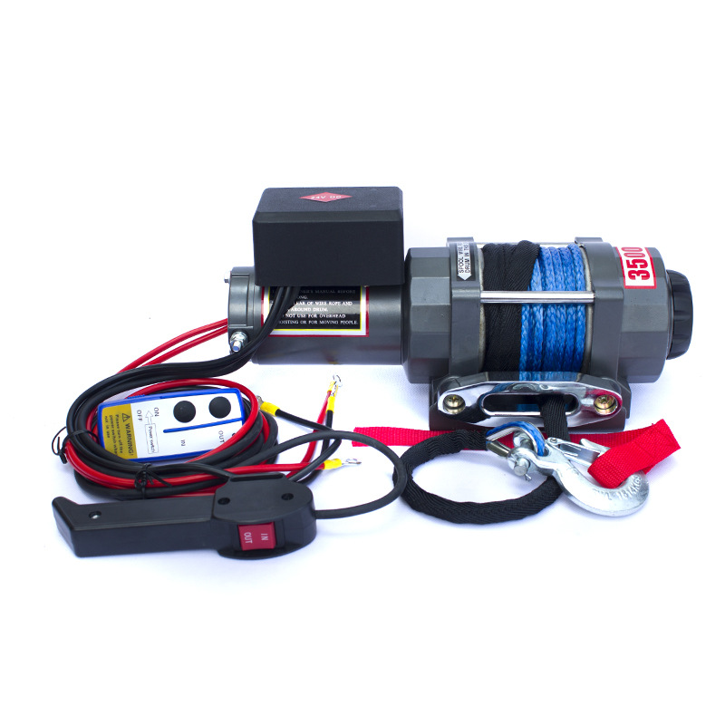 Car Electric Winch 12V / 24V 3500lbs Electric Winch Nylon Rope With Wireless Remote Control  Car Winch