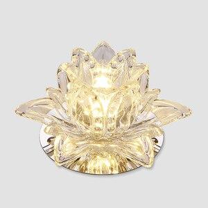 Image 2 - Colorful Led Lotus Crystal Ceiling Chandelier Light Spot Light for Corridors Balconies Hallways Creative Plafonnier Luminaire