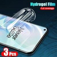 3 uds. De pantalla de película de hidrogel para Oneplus 7 7T Pro, cubierta completa para Oneplus 8 Pro, no Protector de vidrio