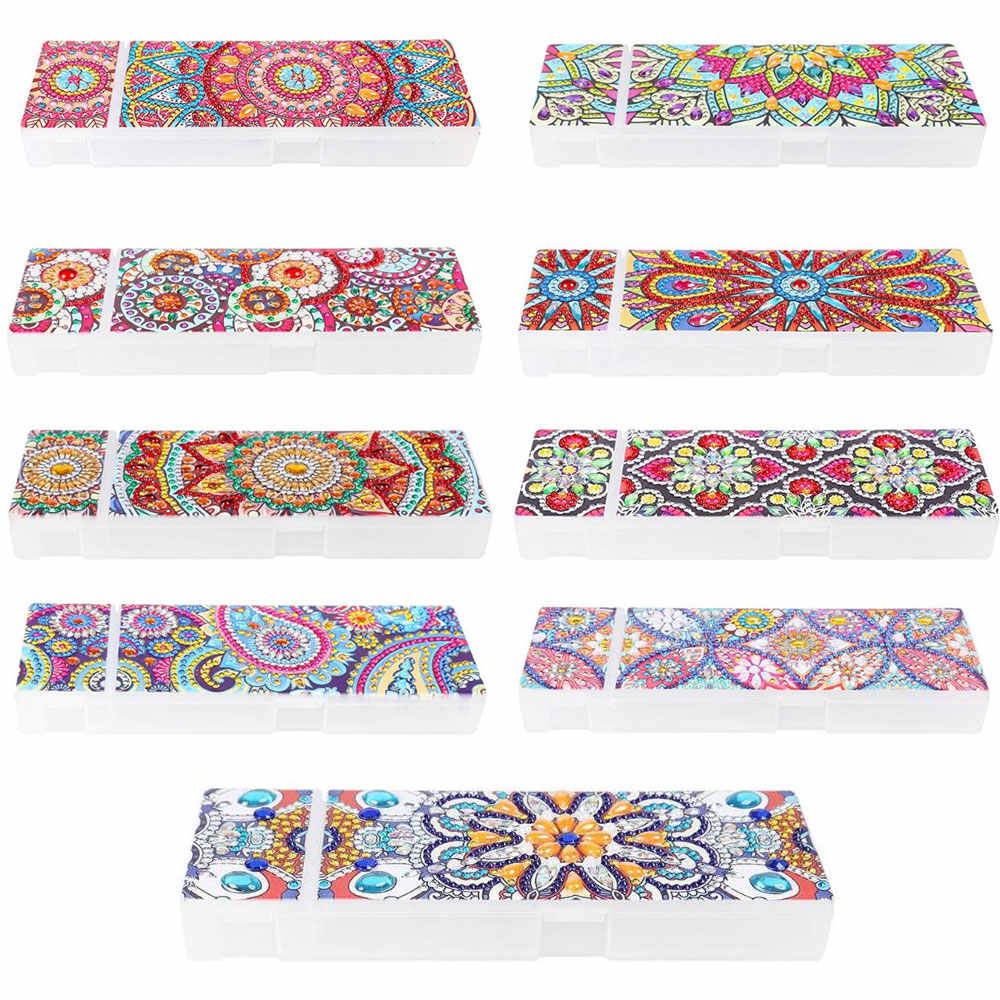 5D DIY Special Shaped Diamond Painting 2 Grids Stationery Pencil Box Rhinestones Diamond Embroidery Mandala Storage Case Gifts