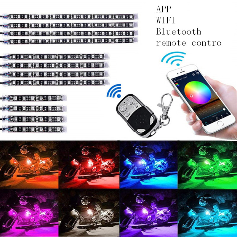 Car Led Strip Light Rgb Tape for Motorcycle Car Atmosphere Lamp Decoration <font><b>12V</b></font> RF APP WIFI Bluetooth Remote Control Neon Strips image