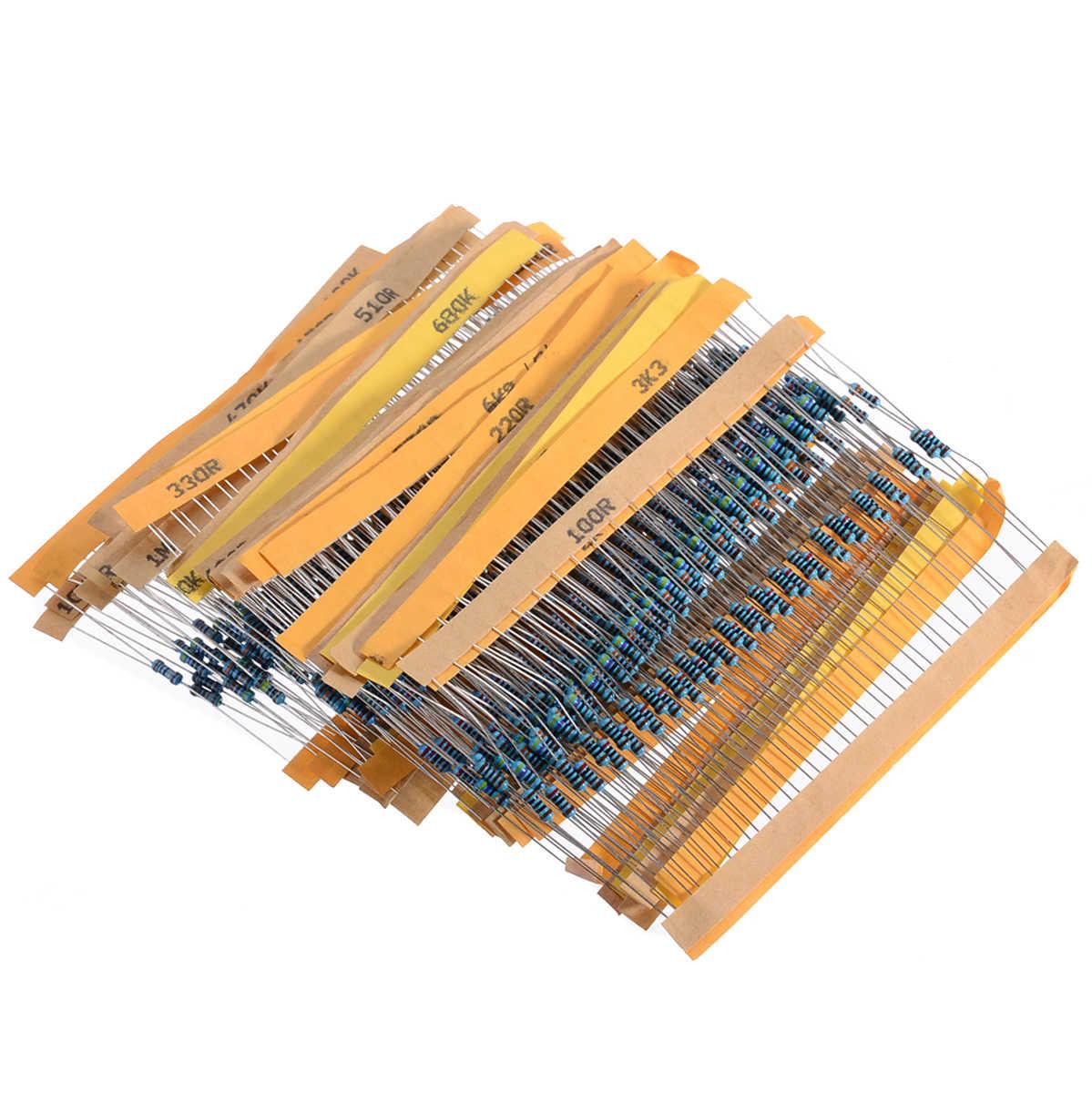 US 600Pcs 30 Values 1//4W Metal Resistors Resistance Assortment Kit 1/% Accuracy