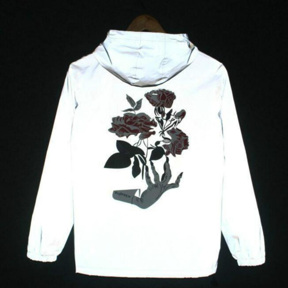 New men's autumn Men /women windbreaker reflective jacket casual hip hop hooded coat streetwear night shiny harajuku jackets 5XL 5