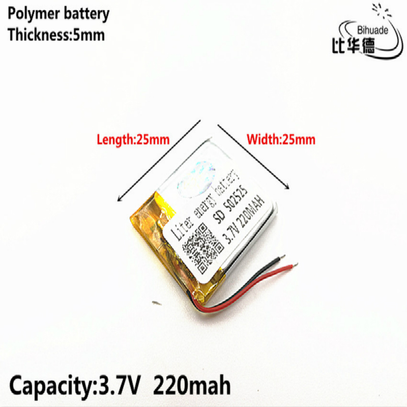 Liter energy battery <font><b>502525</b></font> 3.7V 220mAH 502323 Polymer lithium ion / Li-ion Rechargeable battery for DVR,GPS,mp3,mp4 image