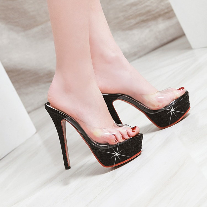 <font><b>Sexy</b></font> <font><b>Women</b></font> <font><b>High</b></font> <font><b>Heels</b></font> 13.5 cm Summer <font><b>Woman</b></font> Transparent Crystal <font><b>Shoes</b></font> Sandals <font><b>Slippers</b></font> Big Size 34-43 Thin <font><b>Heel</b></font> Flip Flops image