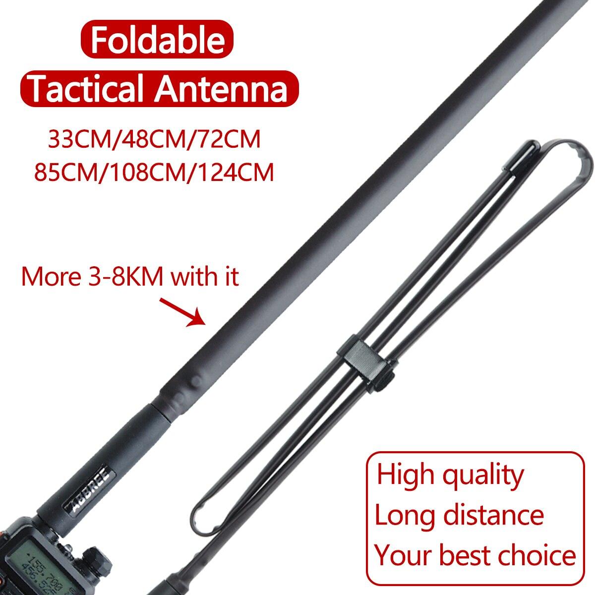 ABBREE SMA-Female Dual Band VHF UHF 144/430Mhz Foldable Tactical Antenna ForBaofeng UV-5R UV-82 BF-888S UV-9RPLUS Walkie Talkie