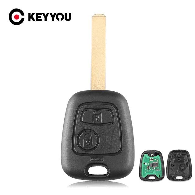 Автомобильный ключ KEYYOU, 2 кнопки, 433 МГц, пульт дистанционного управления, без ключа, для Peugeot 307, Citroen, C1, C3, VA2 Blade, с чипом PCF7961