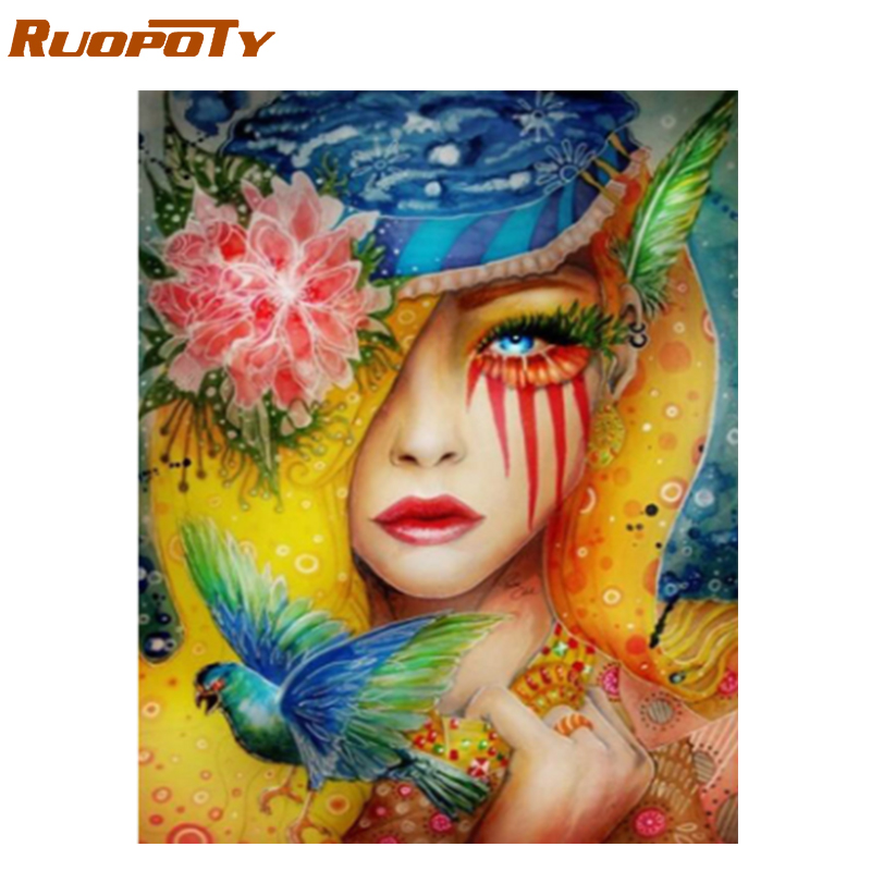 RUOPOTY Frame Birds Women Diy Painting By Numbers Kit Modern Wall Art Canvas By Numbers Paint For Home Decoration Unique Gift