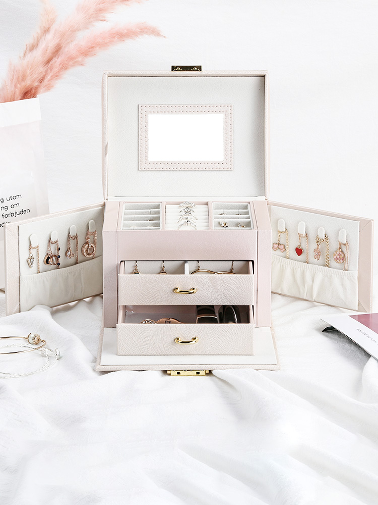 Jewelry Packaging Box Casket Box For Jewelry Exquisite Makeup Case Jewelry Organizer Container Boxes Graduation Birthday Gift|Storage Boxes & Bins| |  - title=