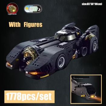 New Justice League Batman UCS Batmobile MOC-15506 Vehicles Car Fit LeGINGlys Technic Building Block Light Bricks Toys Kid Gift