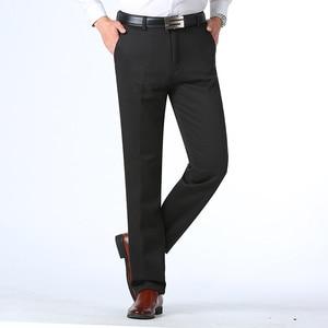 Image 3 - Осень зима мужские теплые флисовые классические черные хлопковые брюки мужские деловые свободные длинные брюки качественные повседневные рабочие брюки комбинезоны