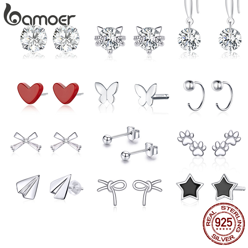 bamoer Authentic 925 Sterling Silver Half Circle Stud Earrings for Women and Men Fine Jewelry Bijoux Minmalistic Simple Ear Stud(China)