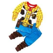 1-7y crianças pajamastoystory woody buzz lightyear pijama bebe define bebê meninas e meninos roupas pijamas dos desenhos animados 2 peças conjunto