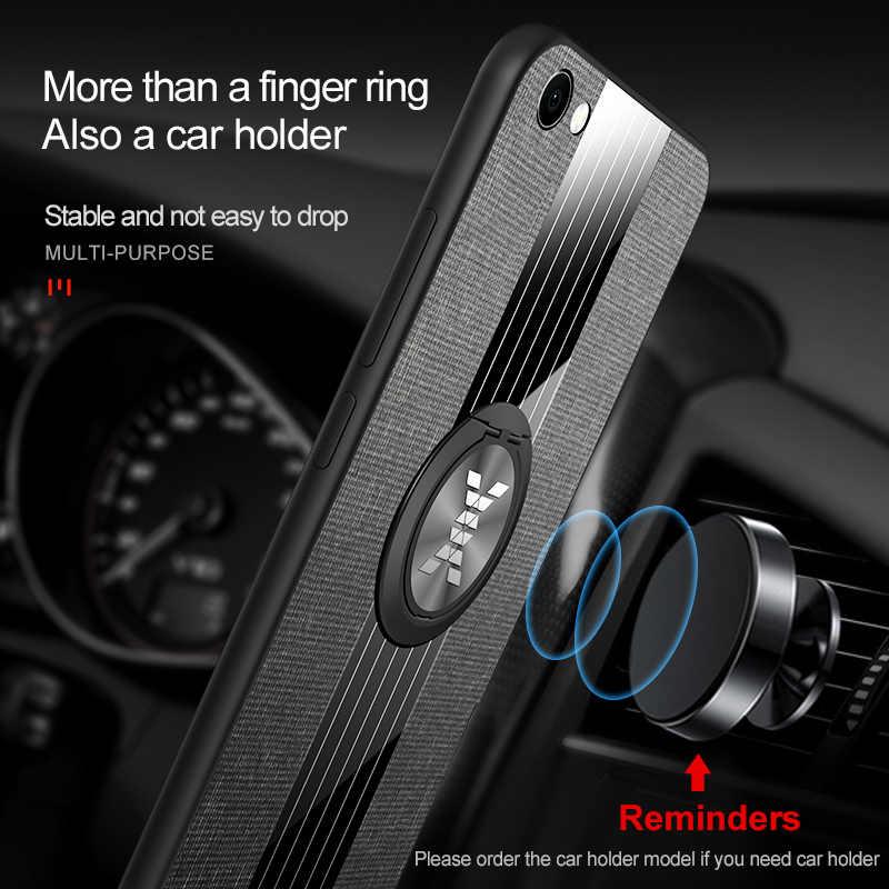 יוקרה מגנטי טלפון מקרה עבור VIVO Y65 Y66 Y67 V5 V5S S V5Lite Lite רך TPU הסיליקון חזרה כיסוי מתכת טבעת מחזיק מעמד דיור