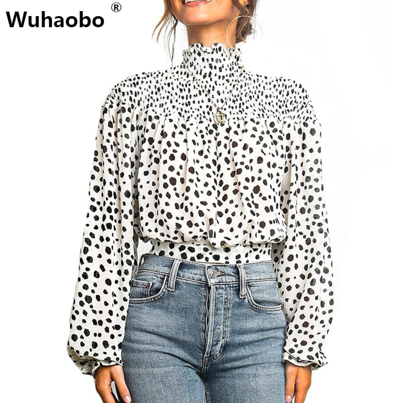 Wuhaobo Autumn Winter Sexy Leopard Shirts Women Fashion Long Sleeve Ruffles Print Tops Elegant Office Lady Blouses Shirt
