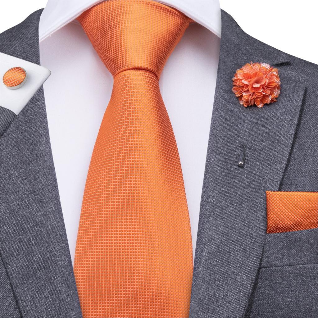 Hi-Tie 8.5cm Men Tie Solid Orange Neck Ties Set Boutonniere Pocket Square Cufflink Gift Box For Wedding Party Suit Cravat