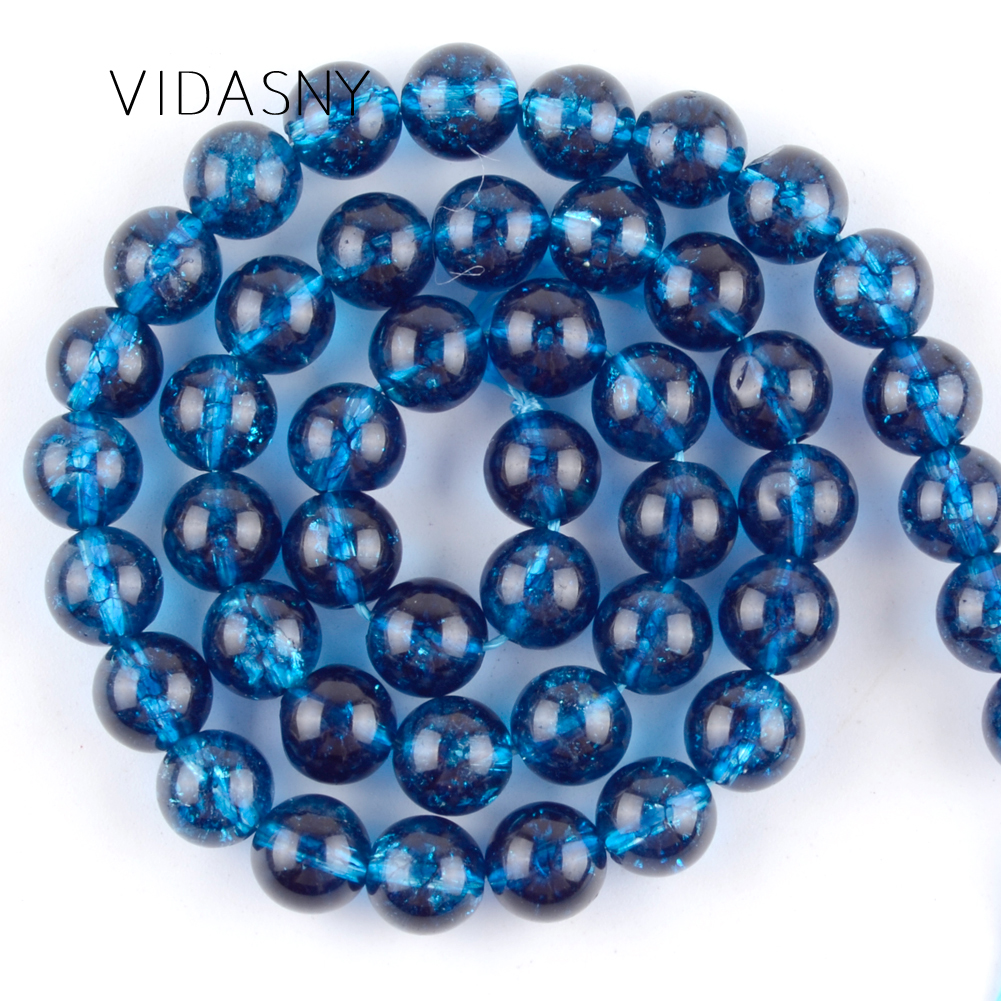 Natural Gem Blue Cracked Crystal Quartzs Beads For Jewelry Making 6 8 10mm Round Loose Stone Beads Diy Bracelet Necklace 15''(China)