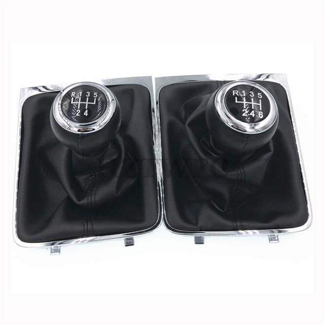 Бесплатная доставка, 5, 6 скоростей, черная рукоятка переключения передач, ручка переключения передач, оправа для VW Passat B6