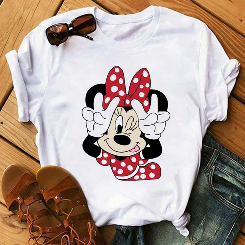 Maycaur Casual Women T-shirts Cute Micky Red Heart Shirts Graphic Tees Mouse T Shirts Hipster Female T Shirt Female Tshirt Femme