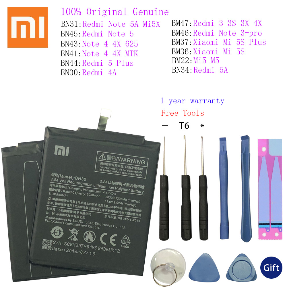 Original Xiaomi Phone <font><b>Battery</b></font> BN30 For Xiaomi redmi 4A Note <font><b>5</b></font>/Note 3/Redmi Note 3 Pro/3/3S/3X/3Pro/4X/6/6A/Note 4/<font><b>Mi</b></font> 5S/<font><b>Mi</b></font> 5X image