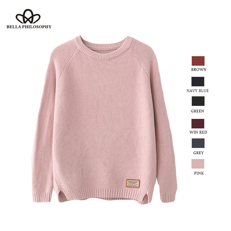Bella Philosophy Feminina Autumn Winter Harajuku Women Sweater Women Pullovers CasualSplit Korean Knitwear Plus Size Jumper