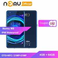 Nomu M8 IP68 Waterproof Smartphone 4GB+64GB OTG+NFC Mobile Phone MTK6750T Octa Core 5.2''HD 21MP+21MP Selfie Softlight cellphone