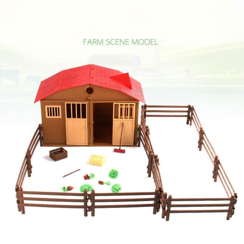 25 pçs/set Simulação Farm Ranch House Casa de Animais e Plantas Cerca Brinquedo Modelo de Montagem DIY Blocos de Construção Luta Cena Mesa de Areia