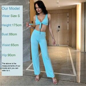 Image 4 - Itsroya Sexy Tweedelige Set Crop Top En Lange Broek Backless Club Party 2 Stuk Set Vrouwen Outfits Solid Zomer kleding Voor Vrouwen