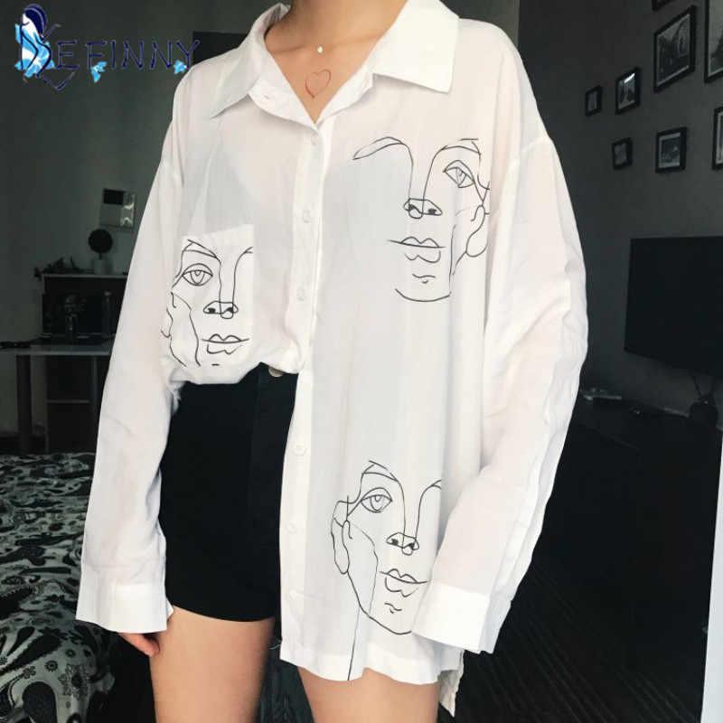 2020 새로운 여름 블라우스 셔츠 여성 면화 인쇄 전체 소매 긴 셔츠 여성 탑 여성 의류