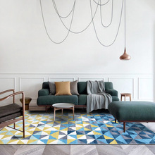 Fashion Nordic INS abstract Blue yellow 3D geometric door mat bedroom living room home bedside crystal velvet carpet custom