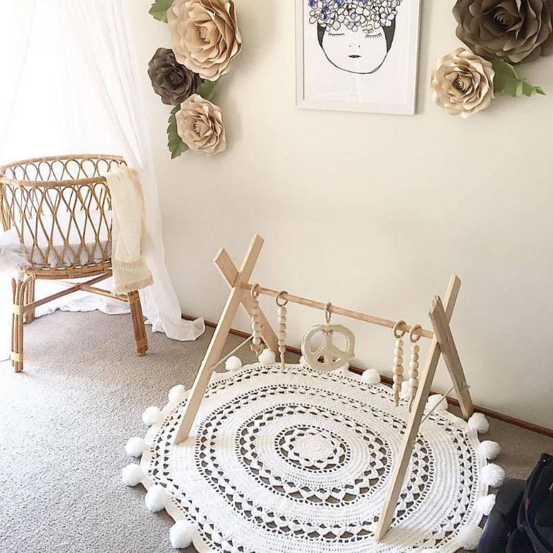 Nordic simples de madeira crianças quarto decorações