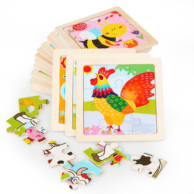 Mini Size 11*11CM Kids Toy Wood Puzzle Wooden 3D Puzzle Jigsaw for Children Baby Cartoon Animal/Traffic Puzzles Educational Toy 4