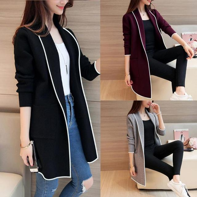 2021 Autumn Winter Long Cardigan Female Casual Women Pocket Cardigan Sweater Knitted Cardigans All-match For Women Jacket Tops
