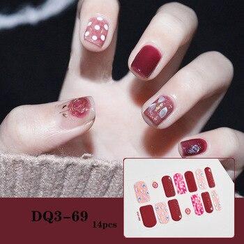 14pcs/sheet Glitter Gradient Color Nail Stickers Nail Wraps Full Cover Nail Polish Sticker DIY Self-Adhesive Nail Art Decoration 21