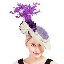 Слоновой кости чародей шляпы с фиолетовыми перьями и цветком головной убор великолепный большой kenducky цветок шапки шляпки Дамы Женщины millinery