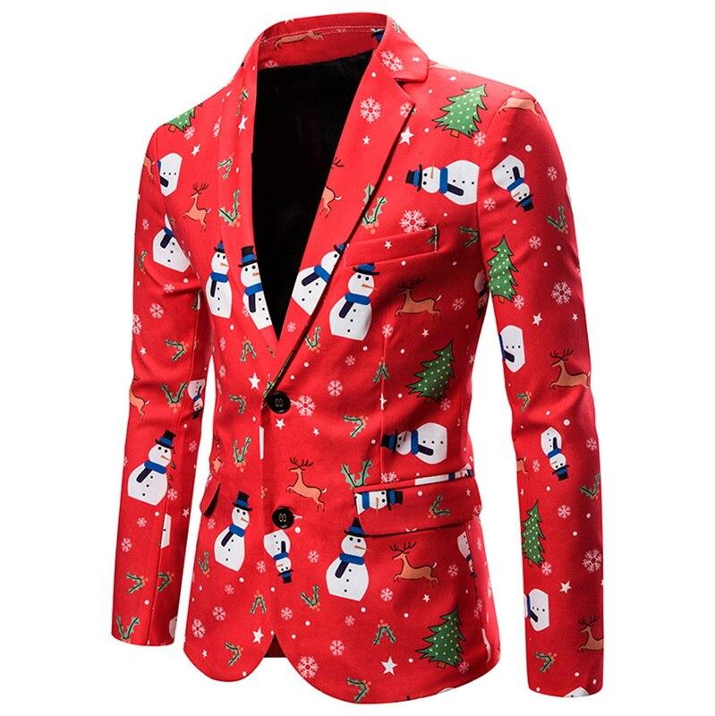 2019 Christmas Suit Jacket Snowman Printed Autumn Winter Men Blazer For Party Casual Mens Suit Coat Single Button Slim Outwear
