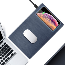 Alfombrilla de ratón con cargador inalámbrico Qi, 5W, 10W, USB, carga rápida para teléfono, escritorio, PU, grano de madera