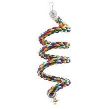 Pássaro poleiro brinquedo espiral corda de algodão mascar barra papagaio balanço escalada em pé brinquedos com sino pássaro suprimentos