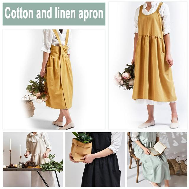 Nordic Simple Florist Apron Cotton Linen Gardening Coffee Shops Kitchen Aprons For Cooking Baking Overalls Apron Accessories 4