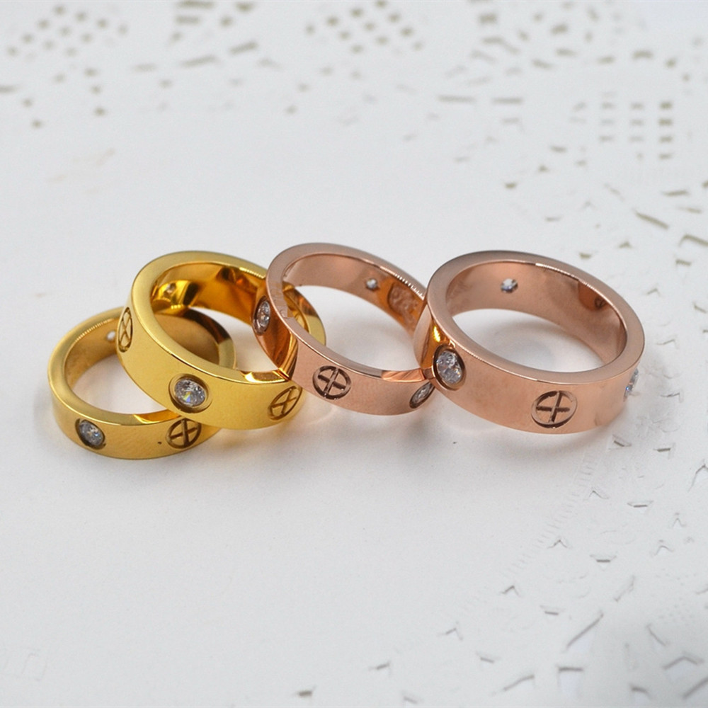 Wedding <font><b>Ring</b></font> Woman Accesories Titanium Steel Men's Fashion Jewelry Rose Gold Luxury Couple Engagement <font><b>Carter</b></font> Cross <font><b>Love</b></font> <font><b>Ring</b></font> image