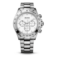 BOSS Ikon Mens Watches White Dial Luxury Watch for Men Chronograph Wrist Watch with Stainless Steel Strap 1512962