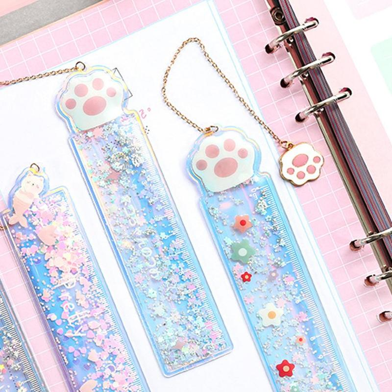 1PC Cartoon Kawaii Ruler Cute Pendant Bookmark PVC Drawing Ruler Girl Stationery Scale Student Quicksand Ruler School