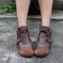 Original Handmade Soft Sole Women Boots Genuine Leather Comfortable Flat Casual Ankle Mothers Shoes Plus Size 40-42