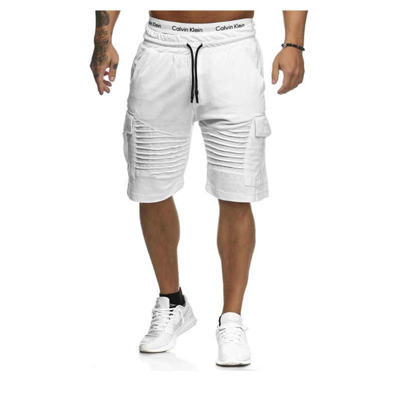 קיץ מכנסיים קצרים מטען גברים 2020 מזדמן גזעי כושר אימון מכנסיים החוף לנשימה כותנה כושר קצר מכנסיים פס מכנסיים קצרים
